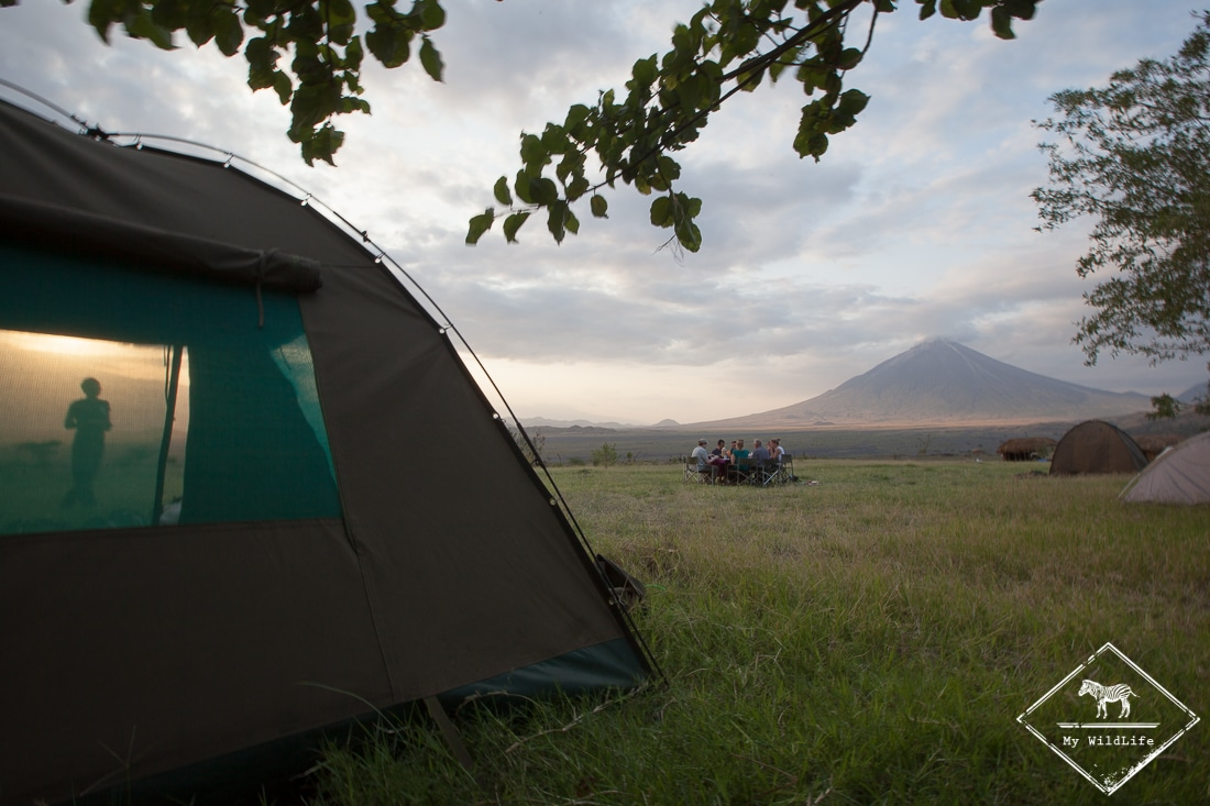 Camping du lac Natron face à l'Ol Doinyo Lengaï.