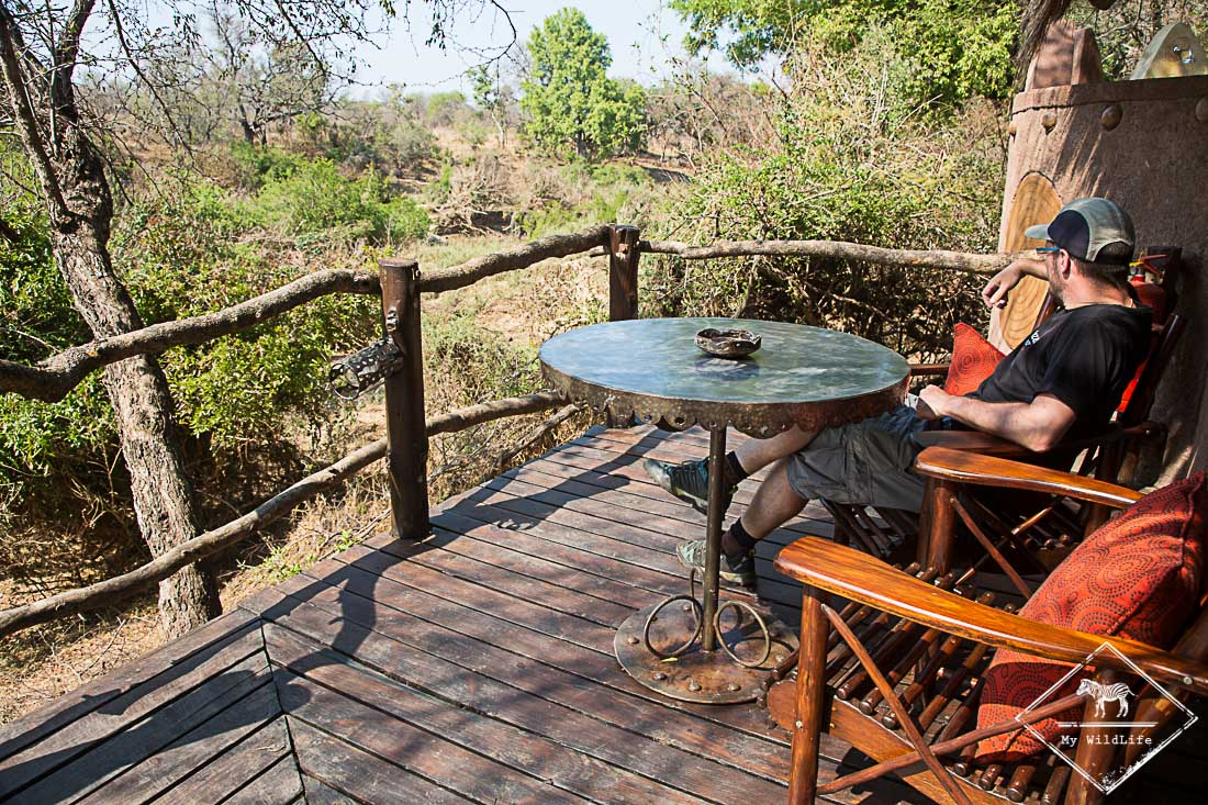 Terrasse de la suite du Makalali Private Game Lodge