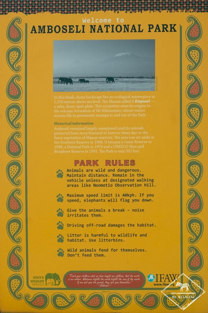 parc national Amboseli, règlementation