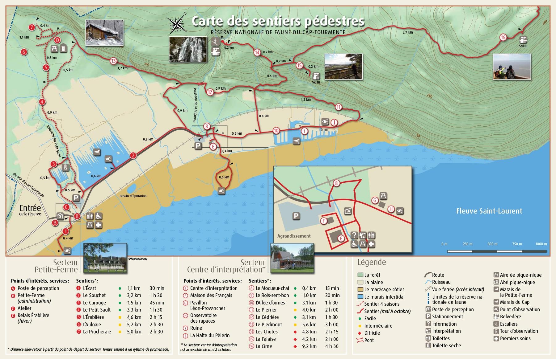 Carte des sentiers de la Réserve nationale de faune du Cap‑Tourmente