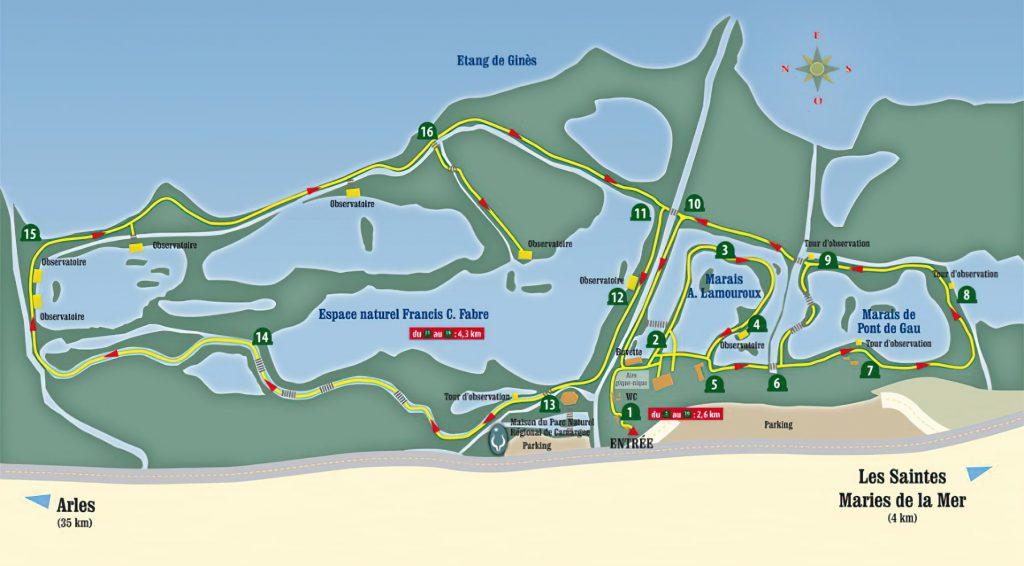 Plan du Parc ornithologique de Pont de Gaud