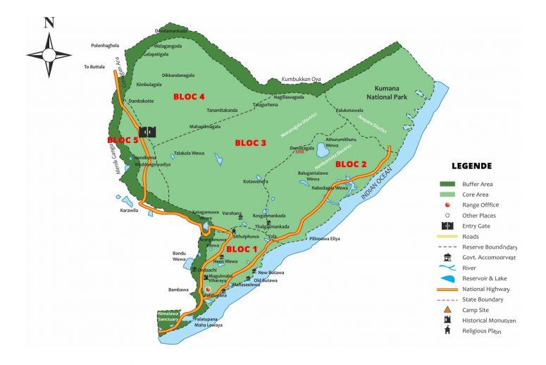 Carte des blocs du parc national de Yala