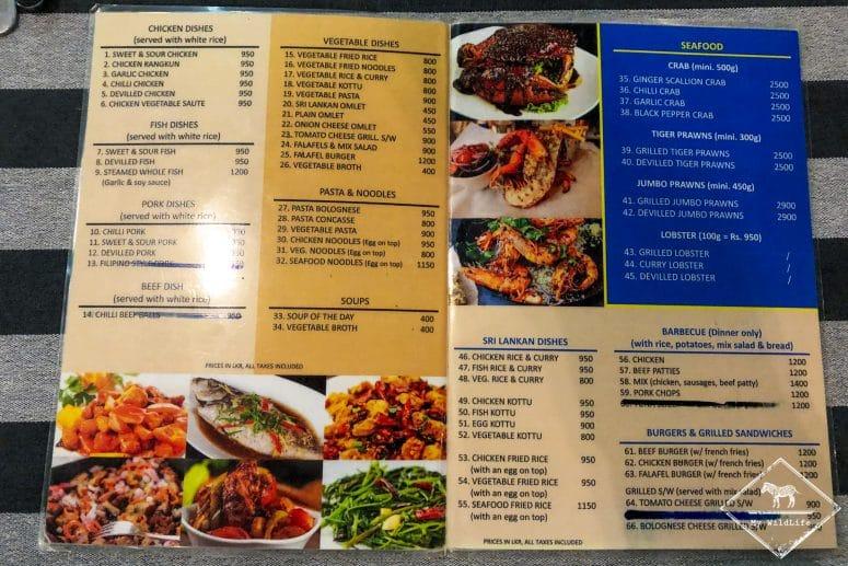 Menu Blue Turtle Hotel, Tissamaharama